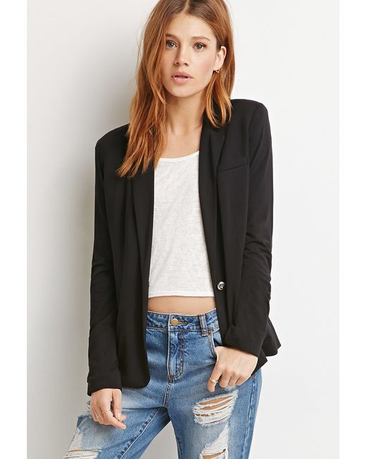 Forever 21 | Black Contemporary Single-button Knit Blazer | Lyst