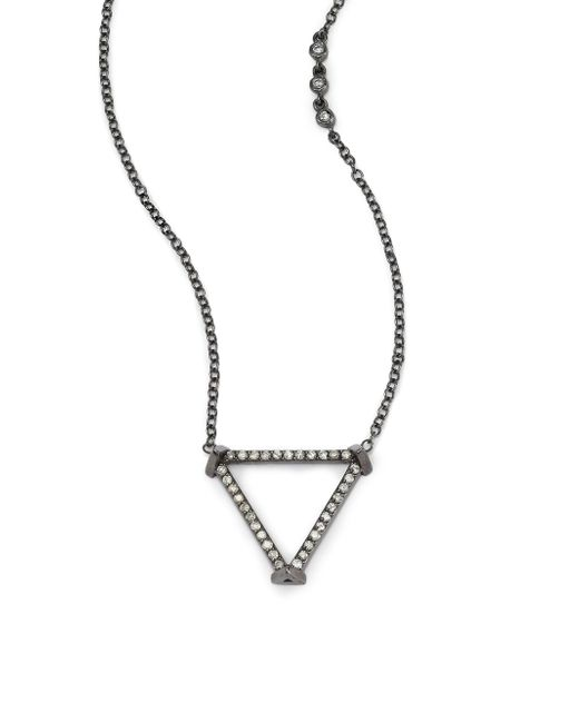 Phyne By Paige Novick | Gray Sasha Diamond & Blackened 14k White Gold Open Triangle Pendant Necklace | Lyst