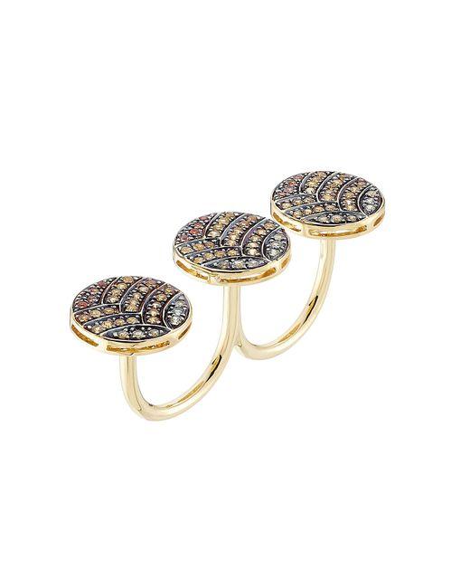 Ileana Makri | Metallic 18-karat Gold And Sapphire Knuckle Ring | Lyst