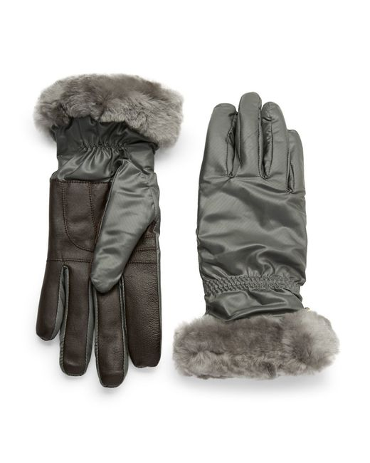 Ugg | Gray Shearling-trimmed Gloves | Lyst