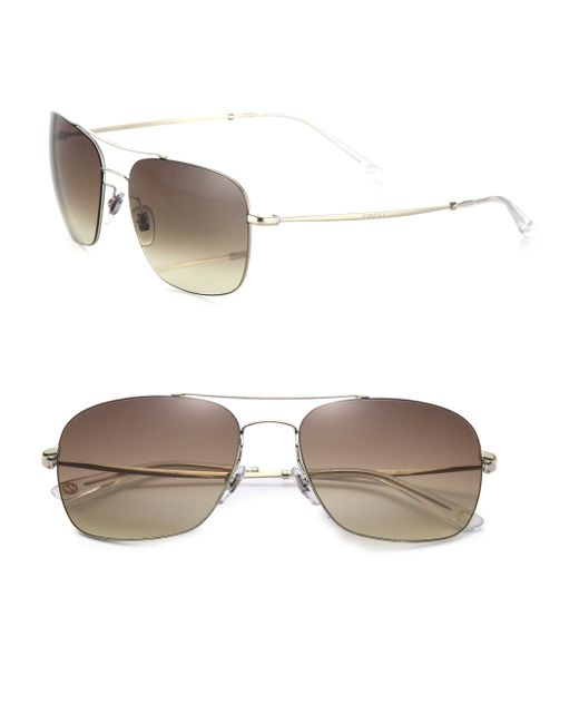 Gucci | Metallic Mirrored 58mm Square Sunglasses | Lyst