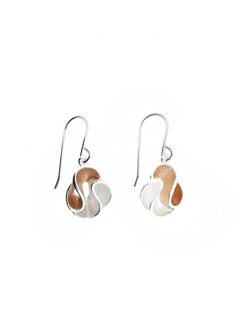 Azendi | White Rose Vermeil Swirl Earring | Lyst
