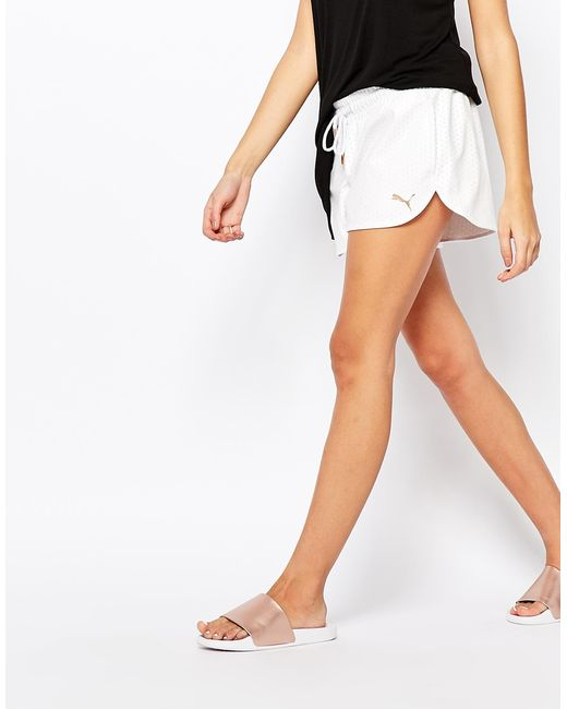 PUMA | White Mini Shorts In Leather Look Mesh | Lyst