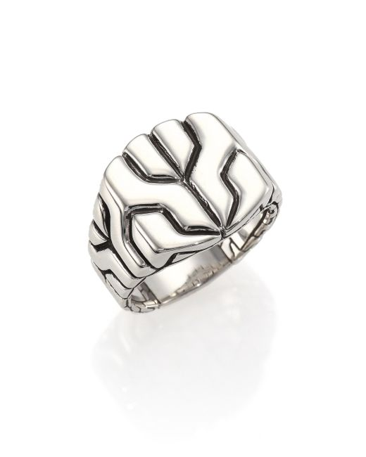 John Hardy | Metallic Classic Chain Sterling Silver Square Ring for Men | Lyst
