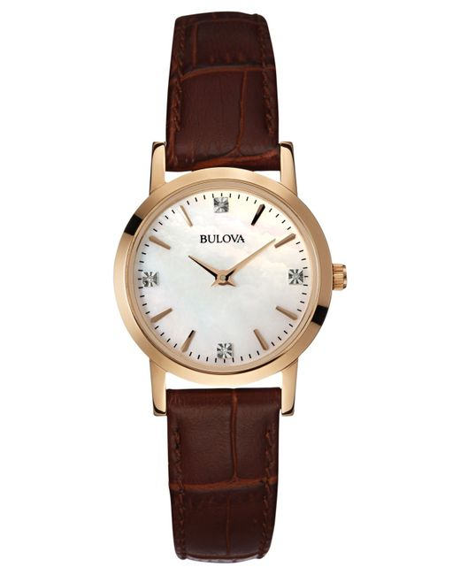 bulova s accent brown leather