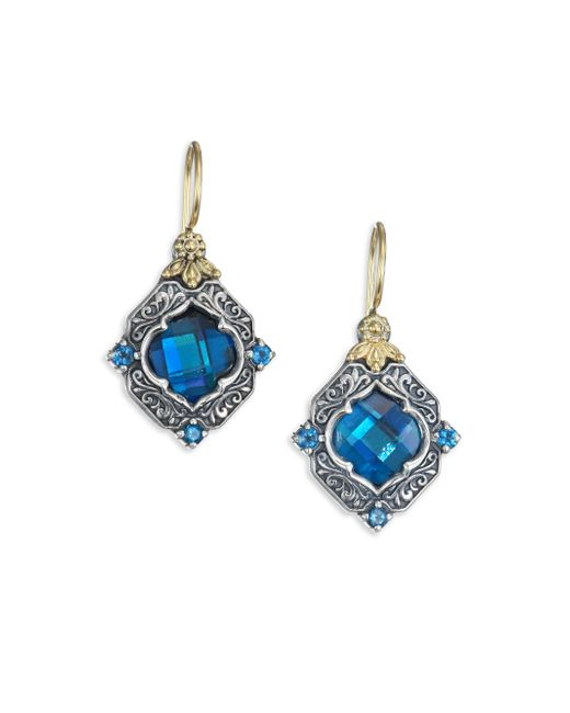 Konstantino | Metallic Thalassa London Blue Topaz, Sterling Silver & 18k Yellow Gold Drop Earrings | Lyst
