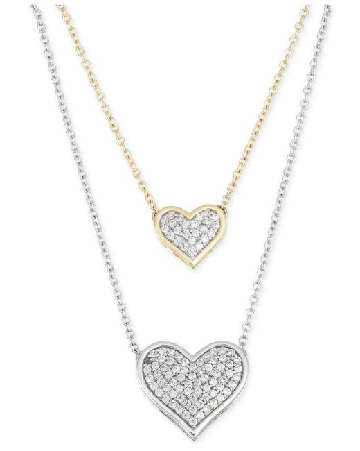 Macy S Diamond Double Heart Pendant Necklace 1 4 Ct T W In 10k Yellow And White Gold In