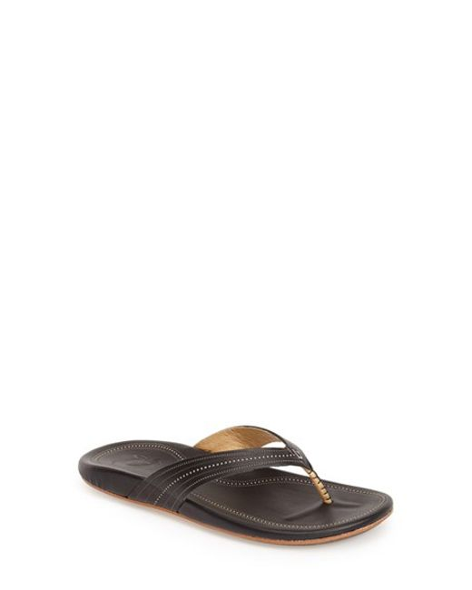 Olukai | Black 'wana' Leather Thong Sandal | Lyst