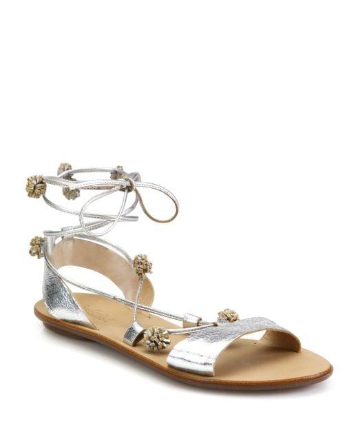 Loeffler Randall Saskia Pom Pom Lace Up Sandals In