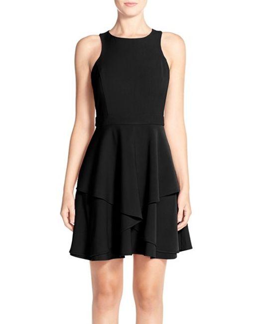 Adelyn Rae | Black Gabardine Fit & Flare Dress | Lyst