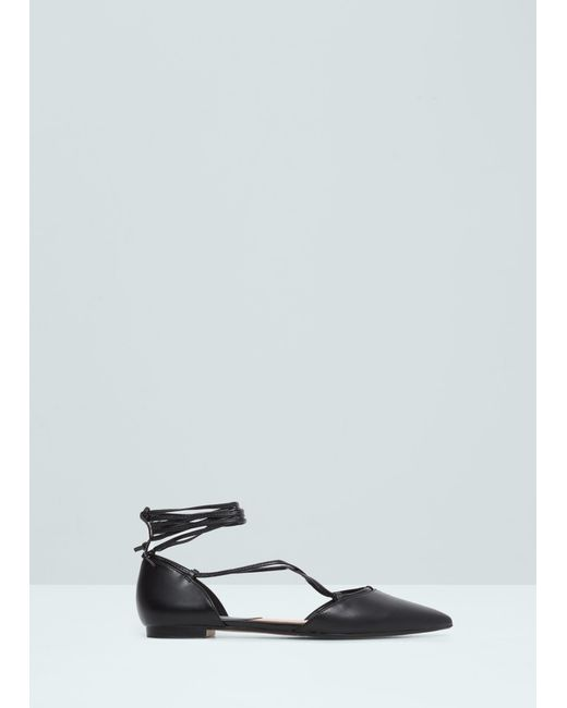 Mango Pointed Toe Flat Shoes In Black | Lyst