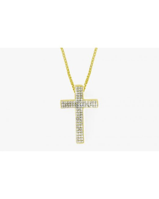 Tateossian   Metallic Precious Cross Micro Pavé Necklace In 18k Yellow Gold With 105 0.32ct White Diamonds for Men   Lyst