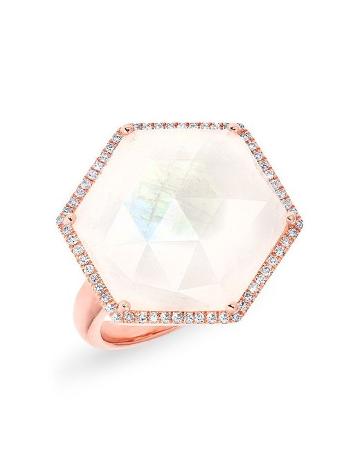 Anne Sisteron - Pink 14kt Rose Gold Moonstone Diamond Hexagon Cocktail Ring - Lyst