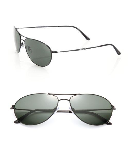 Giorgio Armani | Black 60mm Pilot Sunglasses for Men | Lyst