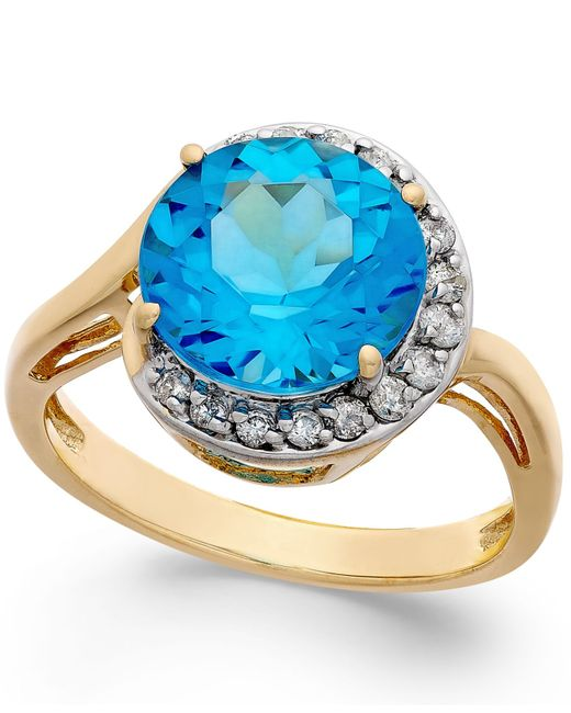Macy's | Metallic Blue Topaz (4-1/2 Ct. T.w.) And Diamond (1/5 Ct. T.w.) Ring In 14k Gold | Lyst