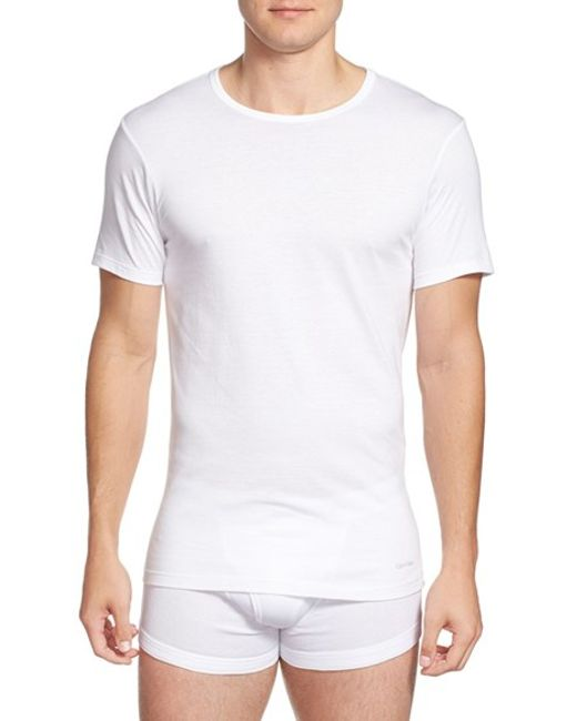 Calvin Klein | Slim Fit 3-pack Cotton T-shirt, White for Men | Lyst