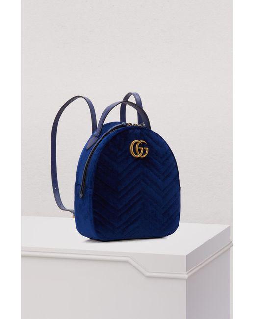 429456211b5 ... Gucci - Blue GG Marmont Velvet Backpack - Lyst ...