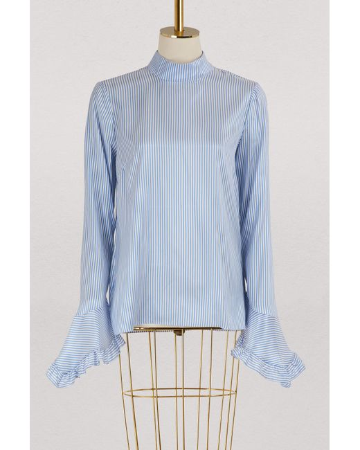 Erdem - Blue Landsey Silk Blouse - Lyst
