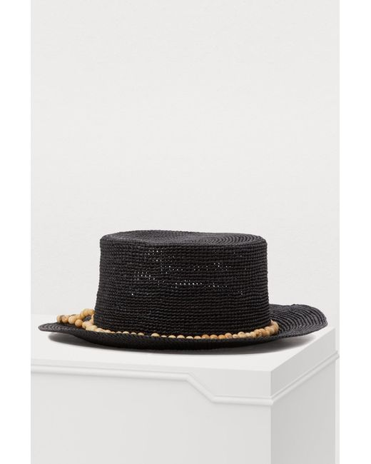 22efdac63f34d Sensi Studio Straw Hat With Pearls in Black - Lyst