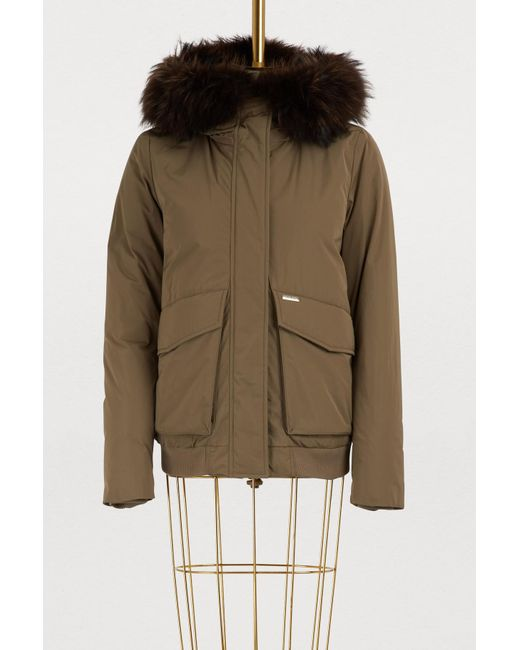Woolrich - Multicolor Short Fur-lined Bomber Jacket - Lyst