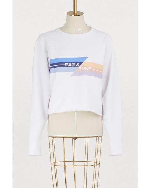 Rag & Bone - White Glitch Sweatshirt - Lyst