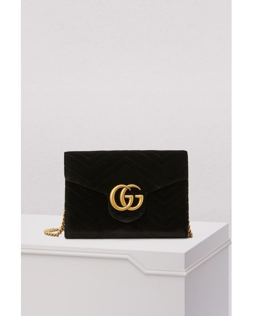 6ed0ccc6b3f Gucci - Black GG Marmont Velvet Mini Bag - Lyst ...