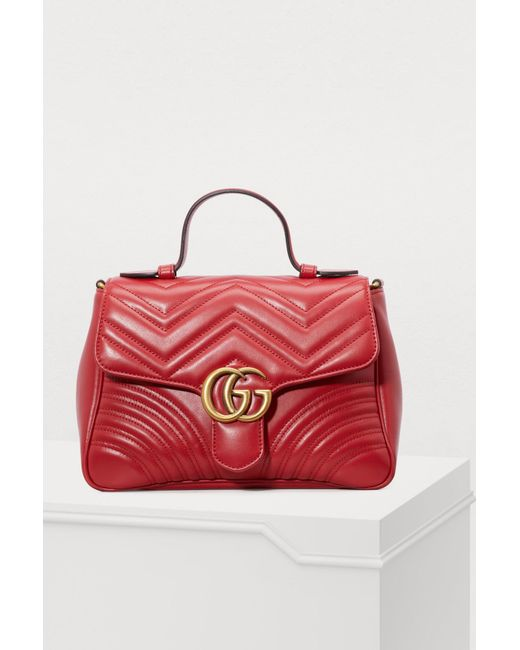 Gucci - Red GG Marmont Small Top Handle Bag - Lyst