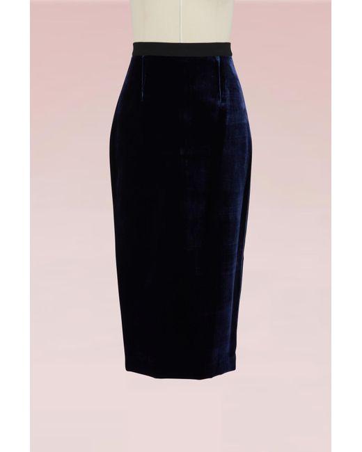 Roland Mouret - Blue Arreton Pencil Velvet Skirt - Lyst