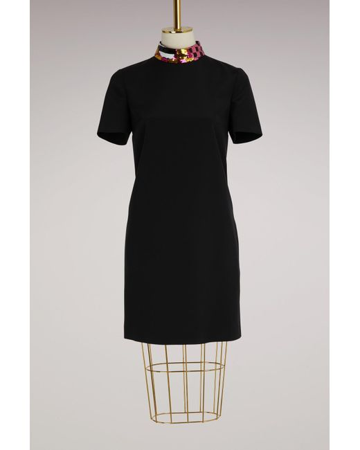 Emilio Pucci - Black Silk Dress With Sequin Collar - Lyst