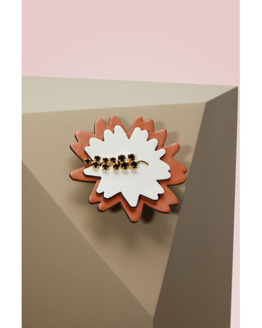 Marni | Multicolor Leather, Strass And Brass Brooch | Lyst