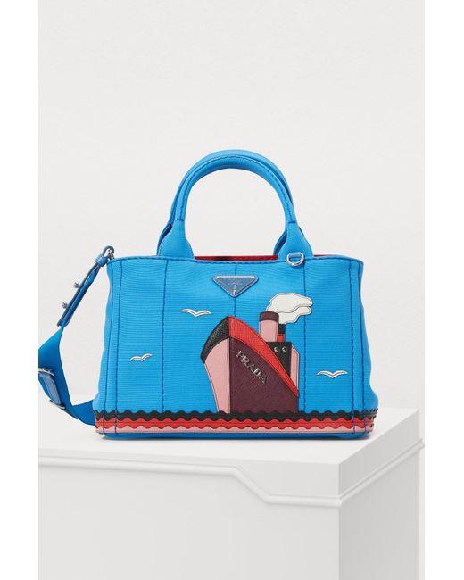 Prada - Blue Boat Canvas Handbag - Lyst ... 6a36cd235f37e