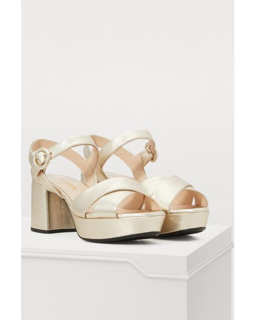 b2aee9724bca2 ... Prada - Multicolor Pearly Laminated Leather Sandals - Lyst ...