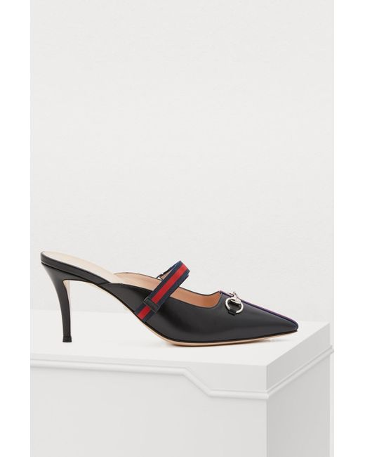 b6ee692bf53 Gucci - Black Webbed Leather Mules - Lyst ...