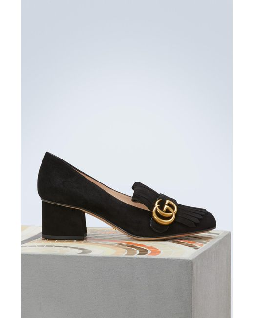 18fe4e147 Gucci Marmont Suede Mid-heel Pump in Black - Save 34% - Lyst