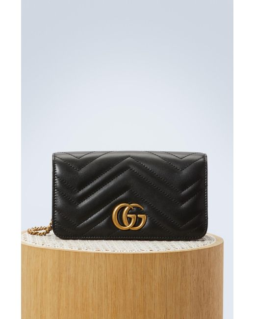 d12b69474 Gucci - Black GG Marmont Wallet On Chain - Lyst ...