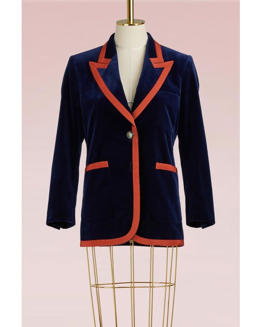 Gucci   Blue Stretch Velvet Jacket With Grosgrain Trim   Lyst