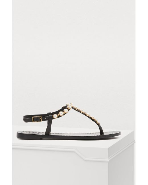 a9ec213a9feba8 Tory Burch - Black Emmy Flat Sandals - Lyst ...
