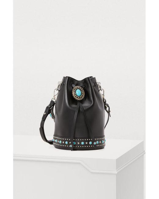 Prada - Black Folk Bucket Bag - Lyst ... 8c3ed8ae83a47