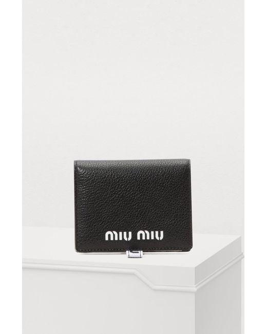 daa0ceabb5de Miu Miu - Black Small Quilted Wallet - Lyst ...