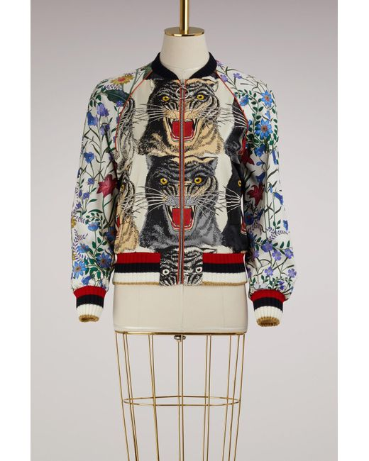 Gucci   Multicolor Patchwork Print Silk Bomber   Lyst