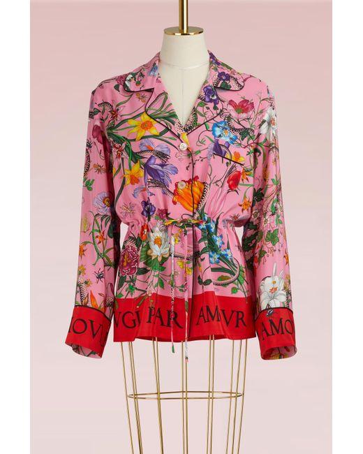 Gucci | Multicolor Flora Snake Silk Shirt | Lyst