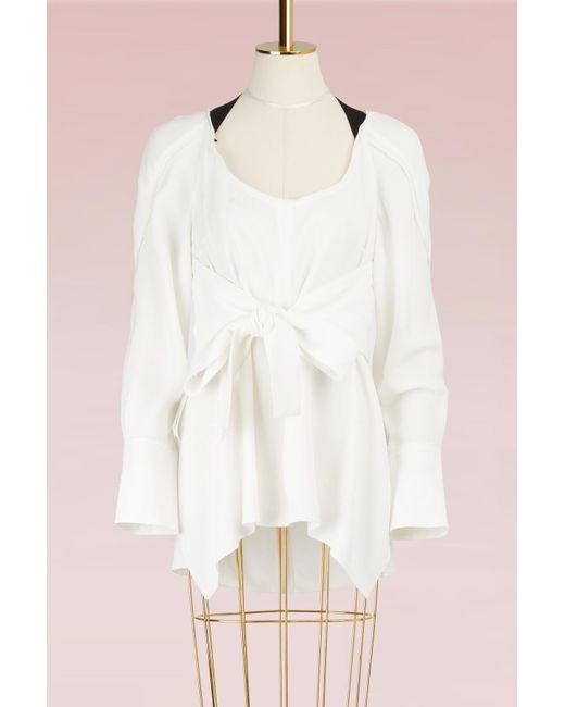 Proenza Schouler | White Crepe Waisted Top | Lyst