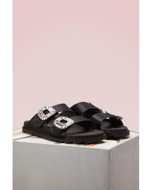 Roger Vivier | Black Slidy Viv Sandals | Lyst