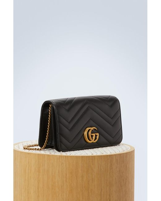 88b5795871f3 ... Gucci - Black GG Marmont Wallet On Chain - Lyst ...