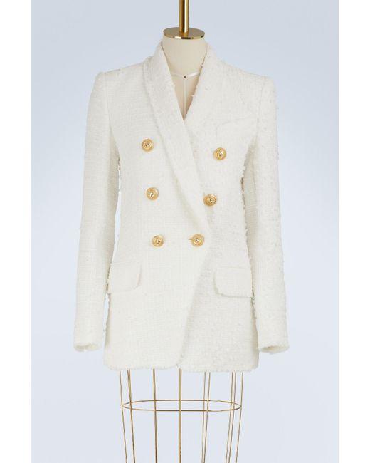 Balmain - White Wool Blend Jacket - Lyst
