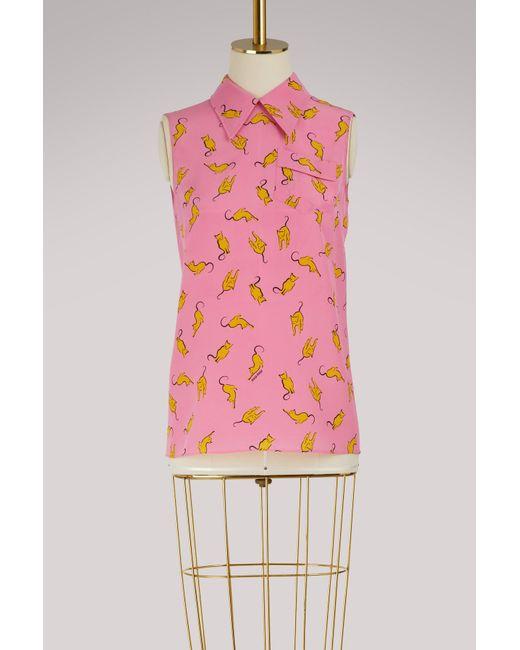 8bc5f2b84c40 Lyst - Miu Miu Cats Print Silk Skirt in Pink - Save 1%