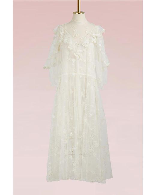Chloé - White Tulle Long Dress - Lyst