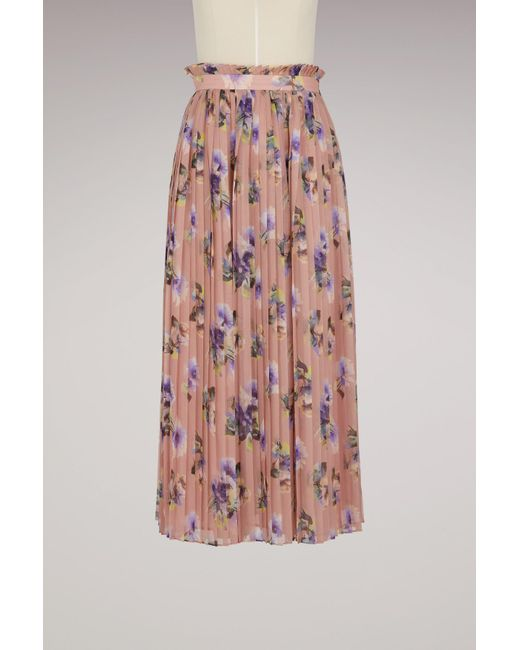 MSGM | Pink Georgette Floral Print Skirt | Lyst