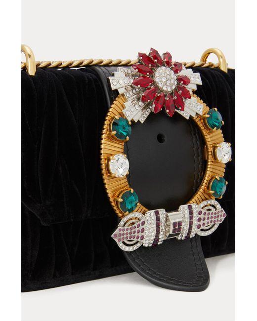 b5a2aa77ba53 ... Miu Miu - Black Miu Lady Velvet Crossbody Bag - Lyst ...