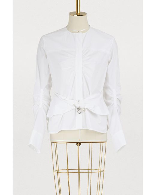 Carven - White Cotton Shirt With Belt - Lyst